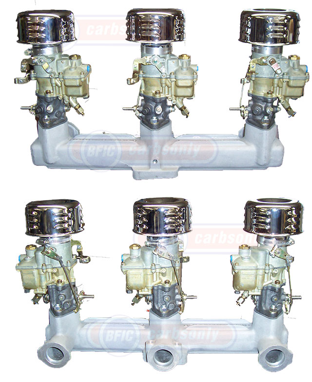 Zenith carburetor tripower set up with Offenhouser manifold